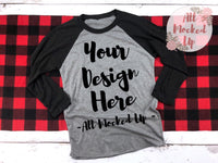 Next Level 6051 Heather Grey / Vintage Black Adult Raglan T-shirt Tshirt Mock Up MockUp Image  - Flat Lay Image - 1/19