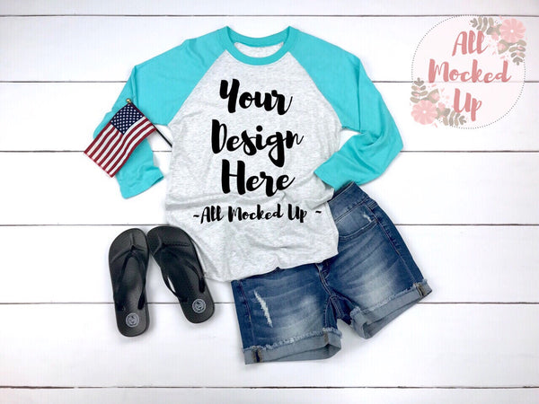 Next Level 6051 Adult Raglan Turquoise Sleeve T-shirt Tshirt Mock Up MockUp Image  - Flat Lay Image - 4th of July Theme   2/19