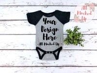 Rabbit Skins 4430 Grey / Smoke Raglan Infant Bodysuit T-shirt Tshirt Mock Up MockUp Image  - Flat Lay Image - Flatlay - 1/19