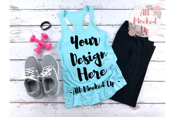Next Level 1533 Women's Cancun Workout Racer Back Tank T-shirt Tshirt Mock Up MockUp Image  - Flat Lay Image - Flatlay -  1/19
