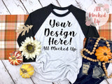 Next Level 6051 Adult Raglan Black Sleeve T-shirt Tshirt Mock Up MockUp Image - Fall Harvest Theme -  Flat Lay Image - 9/19