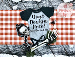 Rabbit Skins 4430 Grey / Smoke Raglan Infant Bodysuit - Halloween Fall Theme - T-shirt Tshirt Mock Up MockUp Image  - Flat Lay Image - Flatlay - 8/19