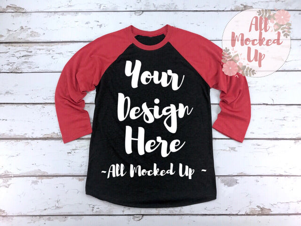 Next Level 6051 Vintage Red / Black  Adult Raglan T-shirt Tshirt Mock Up MockUp Image  - Flat Lay Image - Flatlay - 1/19