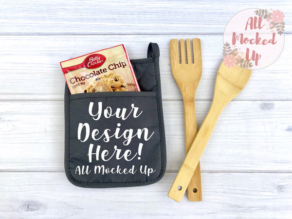GREY Pocket Pot Holder Potholder Mock Up MockUp Image - Flat Lay Image - Flatlay - Styled Mock Up - 5/19
