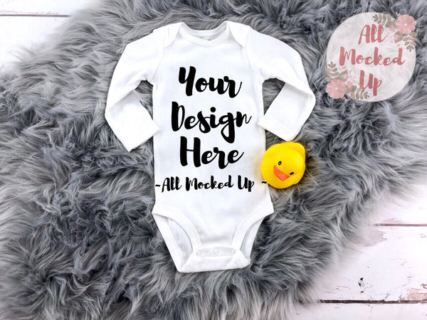 Carter's White Long Sleeve Bodysuit - T-shirt Tshirt Mock Up MockUp Image  - Flat Lay Image - Flatlay -  1/19