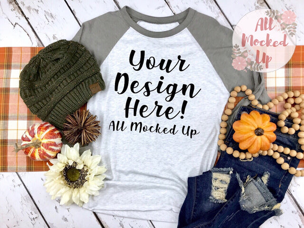 Next Level 6051 Adult Raglan Vintage Gray Sleeve T-shirt Tshirt Mock Up MockUp Image - Fall Harvest Theme -  Flat Lay Image - 9/19