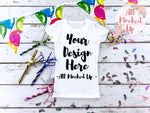 Next Level 3710 Youth White T-shirt Tshirt Mock Up MockUp Image - Birthday Party Theme -  Flat Lay Image - 1/19