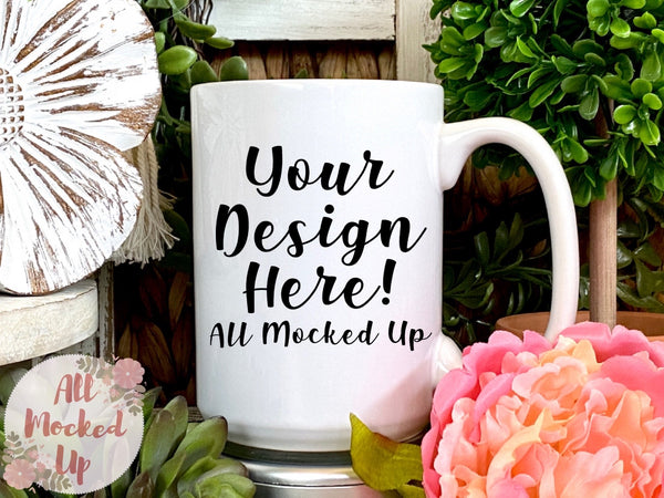 15 oz White Coffee Mug Mock Up - Sublimation Mock UP - Mock Up - Mock Up Image  - Flat Lay Image - Flatlay   4/21