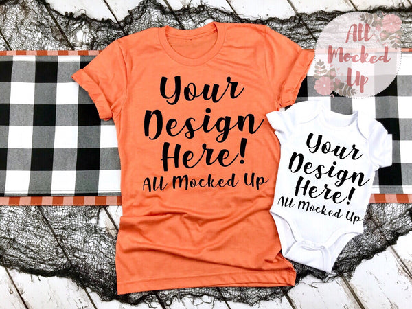 Bella Canvas 3001 3413 Heather Orange T-shirt & White Baby Bodysuit Tshirt Mock Up MockUp Image  - Halloween Fall Theme - Flat Lay Image - Flatlay -  8/19