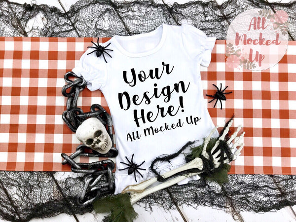 ARB Blanks Girls Ruffle Short Sleeve Shirt Sublimation Mock Up MockUp Image  - Halloween Fall Mock UP -  Flat Lay Image - Flatlay - Styled Mock Up - 8/19