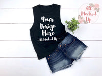 Bella Canvas 8803 Black Muscle Tank T-shirt Mock Up MockUp Image  - Flat Lay Image - Flatlay - 3/19