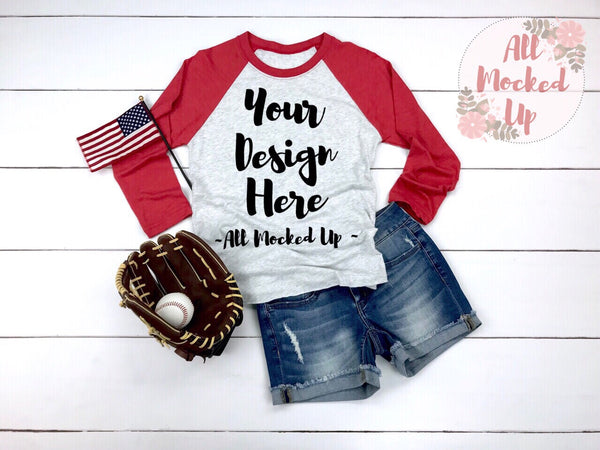 Next Level 6051 Adult Raglan Red Sleeve T-shirt Tshirt Mock Up MockUp Image  - Flat Lay Image - Baseball Theme  2/19