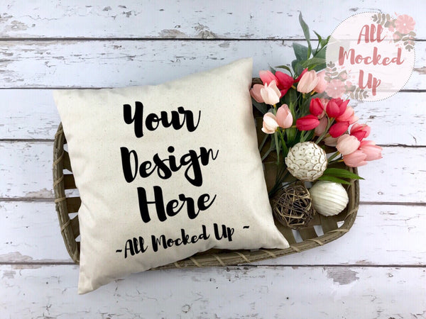 Canvas Pillow Mock Up - Spring Summer Theme - Decor Pillow Square Pillow Pillow Case MockUp Image - Flat Lay Flatlay - 2/19
