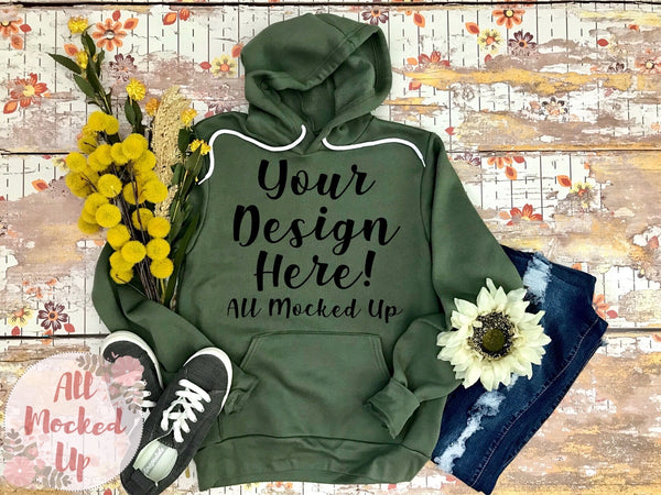 Bella Canvas 3719 Military Green Hooded Sweatshirt T-shirt Tshirt Mock Up MockUp Image  - Flat Lay Image - Flatlay Fall Mock Up -   9/20
