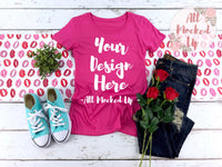 Next Level 1510 Women's Raspberry Pink T-shirt Tshirt Mock Up MockUp Image  - Flat Lay Image - Flatlay -  1/19