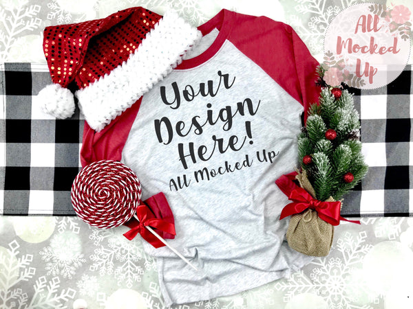 Next Level 6051 Adult Raglan Red Sleeve T-shirt Tshirt Mock Up MockUp Image  - CHRISTMAS HOLIDAY Theme -  Flat Lay Image - 10/19