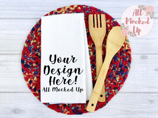 Waffle Weave Kitchen Towel Mock Up MockUp Image  - Sublimation Mock UP -  Flat Lay Image - Flatlay - Styled Mock Up - 5/19