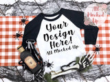 Next Level 3352 Youth Raglan Black/White T-shirt Mock Up MockUp Image  - Halloween Fall Theme - Flat Lay Image - Flatlay -  8/19