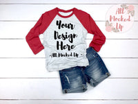Next Level 6051 Adult Raglan Red Sleeve T-shirt Tshirt Mock Up MockUp Image  - Flat Lay Image - 2/19