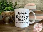 11 oz White Coffee Mug Mock Up - Sublimation Mock UP - Valentine's Day Themed Mock Up - Mock Up Image  - Flat Lay Image - Flatlay   1/21