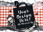 Liberty Bags 8502 Canvas Tote Bag Mock Up MockUp Image - Halloween Theme -  Flat Lay Flatlay - 8/19