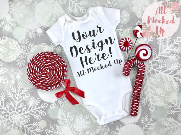 Carter's SHORT Sleeve Shirt Bodysuit Mock Up MockUp Image  - CHRISTMAS / HOLIDAY Mock UP -  Flat Lay Image - Flatlay - Styled Mock Up - 10/19