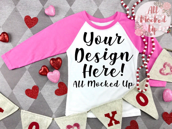Next Level 3352 Youth Raglan PINK SLEEVE T-shirt Mock Up MockUp Image  - Valentine's Day Theme  Flat Lay Image - Flatlay -  1/20