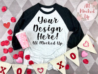 Next Level 6051 Adult Raglan BLACK SLEEVE T-shirt Tshirt Mock Up MockUp Image  - Valentine's Day Theme -  Flat Lay Image - 1/20