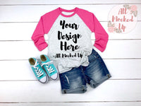Next Level 6051 Adult Raglan Pink Sleeve T-shirt Tshirt Mock Up MockUp Image  - Flat Lay Image - 2/19