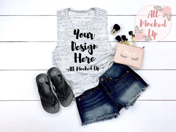 Bella Canvas 8803 White Marble Muscle Tank T-shirt Mock Up MockUp Image  - Flat Lay Image - Flatlay -  3/19