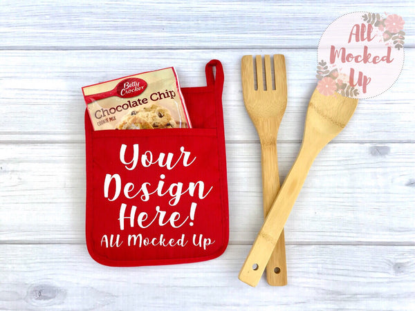 RED Pocket Pot Holder Potholder Mock Up MockUp Image - Flat Lay Image - Flatlay - Styled Mock Up - 5/19