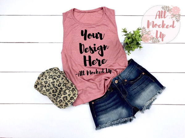 Bella Canvas 8803 Mauve Marble Muscle Tank T-shirt Mock Up MockUp Image  - Flat Lay Image - Flatlay -  3/19