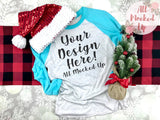 Next Level 6051 Adult Raglan Turquoise Sleeve T-shirt Tshirt Mock Up MockUp Image  - CHRISTMAS HOLIDAY Theme -  Flat Lay Image - 10/19