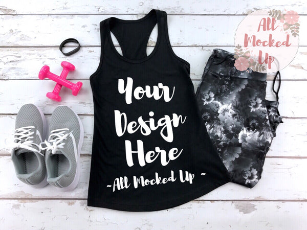 Next Level 1533 Women's Black Workout Racer Back Tank T-shirt Tshirt Mock Up MockUp Image  - Flat Lay Image - Flatlay -  1/19