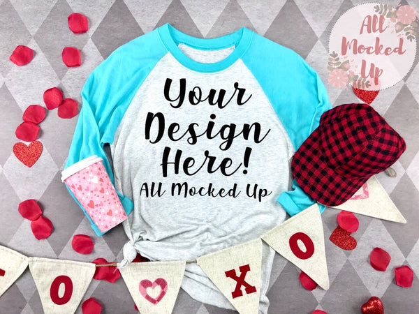 Next Level 6051 Adult Raglan TURQUOISE SLEEVE T-shirt Tshirt Mock Up MockUp Image  - Valentine's Day Theme -  Flat Lay Image - 1/20