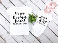 Carter's Bodysuit & Next Level 3710 Girls White T-shirt Tshirt Mock Up MockUp Image  - Sister and Me - Shirt Mock Up - Flat Lay Image - Flatlay -  7/19