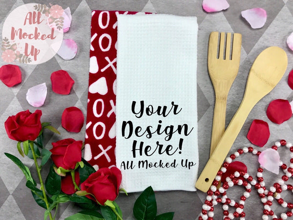 Waffle Weave Kitchen Towel Mock Up MockUp Image  - Sublimation Mock UP - Valentine's Day Theme -  Flat Lay Image - Flatlay - Styled Mock Up - 1/20