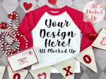 Next Level 3352 Youth Raglan RED SLEEVE T-shirt Mock Up MockUp Image  - Valentine's Day Theme  Flat Lay Image - Flatlay -  1/20
