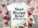 ARB Blanks Boys SHORT Sleeve Shirt Sublimation Mock Up MockUp Image  - Valentine's Day Mock UP -  Flat Lay Image - Flatlay - Styled Mock Up - 1/20
