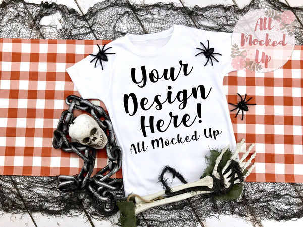ARB Blanks Boys Short Sleeve Shirt Sublimation Mock Up MockUp Image  - Halloween / Fall Mock UP -  Flat Lay Image - Flatlay - Styled Mock Up - 8/19
