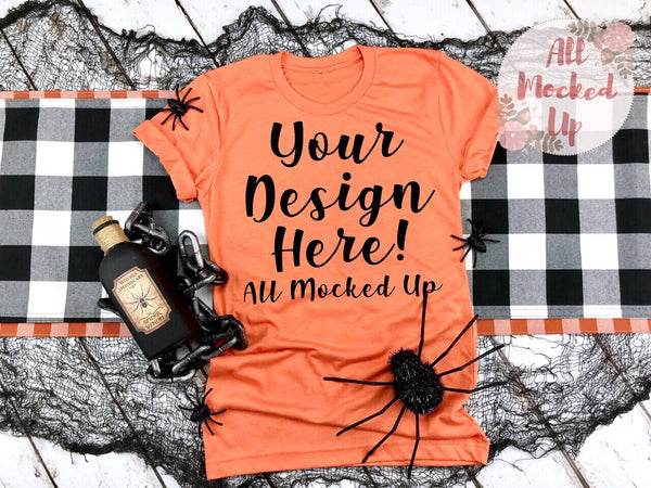 Bella Canvas 3001 3413 Heather Orange T-shirt Tshirt Mock Up MockUp Image  - Halloween Fall Theme - Flat Lay Image - Flatlay -  8/19