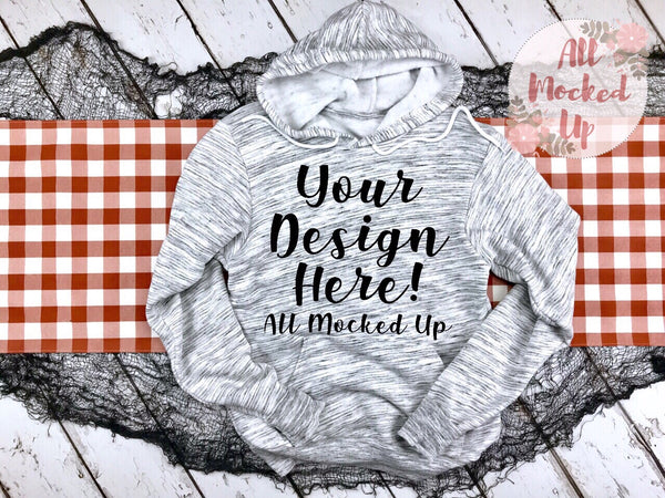 Bella Canvas 3719 Light Grey Marble Hooded Sweatshirt T-shirt Tshirt Mock Up MockUp Image  - Halloween Fall Theme - Flat Lay Image - Flatlay -   8/19