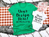 Bella Canvas 3001 3413 Heather Kelly Green T-shirt & White Baby Bodysuit Tshirt Mock Up MockUp Image  - Halloween Fall Theme - Flat Lay Image - Flatlay -  8/19