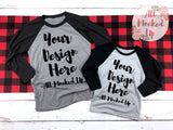 Next Level 6051 & 3352 Heather Grey / Vintage Black Adult Raglan T-shirt Tshirt Mock Up MockUp Image  - Flat Lay Image - 1/19