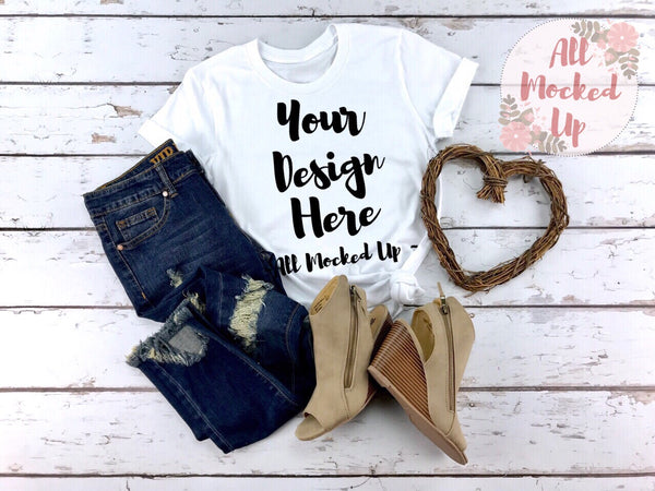 Bella Canvas 3001 3413 White T-shirt Tshirt Mock Up MockUp Image  - Flat Lay Image - Flatlay - 1/19