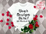 Bella Canvas 3001/3413 WHITE T-shirt Tshirt Mock Up MockUp Image  - Flat Lay Image - Flatlay - Valentine's Day Theme -   1/20