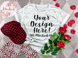 Bella Canvas 3413 White Marble T-shirt Tshirt Mock Up MockUp Image  - Valentine's Day Theme - Flat Lay Image - Flatlay -  1/20