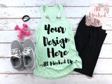 Next Level 1533 Women's Mint Workout Racer Back Tank T-shirt Tshirt Mock Up MockUp Image  - Flat Lay Image - Flatlay -  1/19