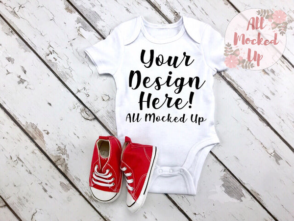 ARB Blanks Baby Bodysuit Shirt Sublimation Mock Up MockUp Image  - Flat Lay Image - Flatlay - Styled Mock Up - 7/19