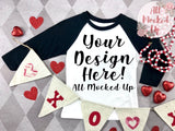 Next Level 3352 Youth Raglan BLACK SLEEVE T-shirt Mock Up MockUp Image  - Valentine's Day Theme  Flat Lay Image - Flatlay -  1/20
